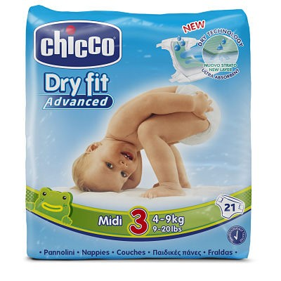 PAÑAL DRY FIT CHICCO TALLA 3 4-9 KG 21 UNIDADES