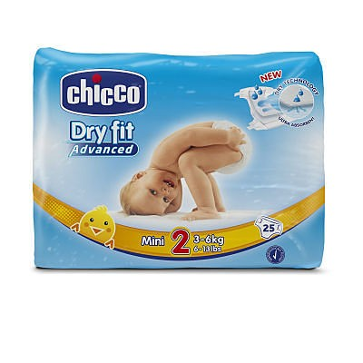 PAÑAL DRY FIT CHICCO TALLA 2 3-6 KG 25 UNIDADES